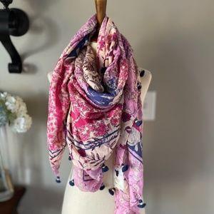 NWOT Anthropologie Pink Tassel Floral Scarf